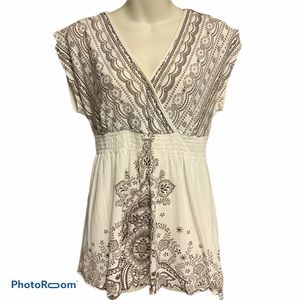 Cato S boho top brown/cream beauty